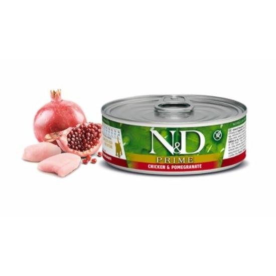 N&D Cat Prime - Csirke-Gránátalma konzerv Kölyök cicáknak 80 g