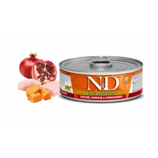 N&D Cat Pumpkin Csirke-Sütőtök-Gránátalma konzerv macskáknak 80 g