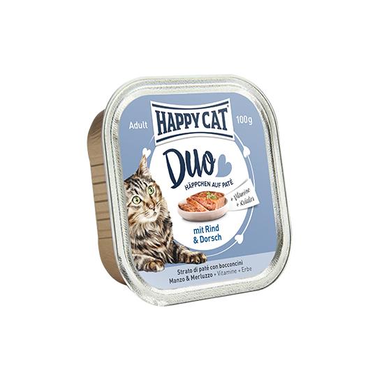 Happy Cat - Duo Pástétomos Falatkák Marha-Tőkehal