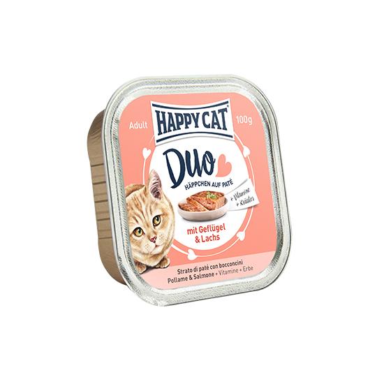 Happy Cat - Duo Pástétomos Falatkák Szárnyas-Lazac