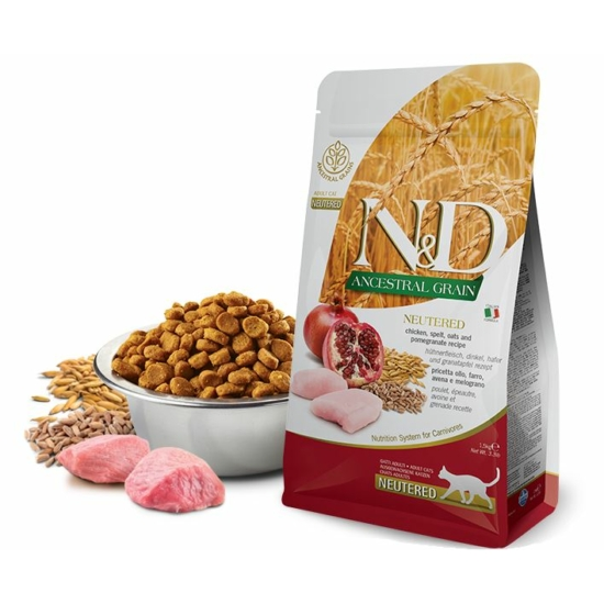 N&D Cat Ancestral Grain Csirke-Gránátalma táp Steril macskáknak 300g