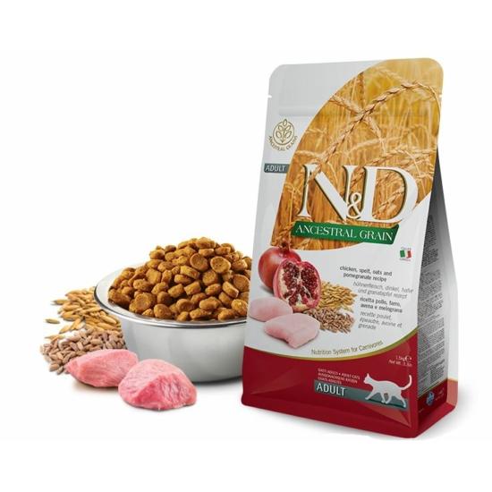 N&D Cat Ancestral Grain Csirke-Gránátalma-Tönkölybúza-Zab táp macskáknak