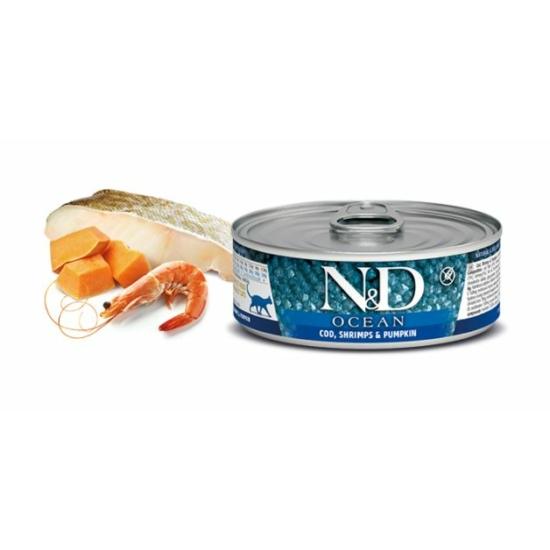 N&D Cat Ocean -Tőkehal-Garnélarák-Sütőtök konzerv Felnőtt macskának 80 g