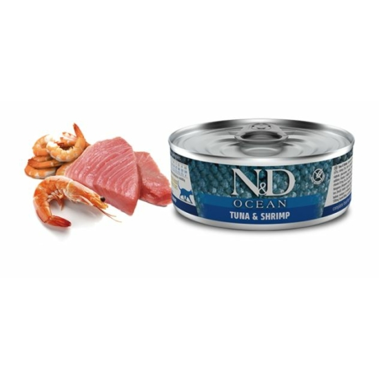 N&D Cat Ocean -Tonhal-Garnélarák konzerv Felnőtt macskának 80 g
