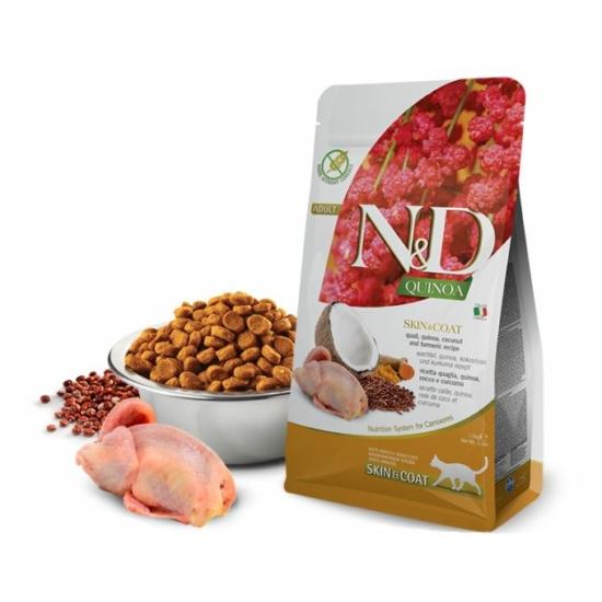 N&D Cat Quinoa - Fürj Száraztáp a Bőrért és Szőrzetért