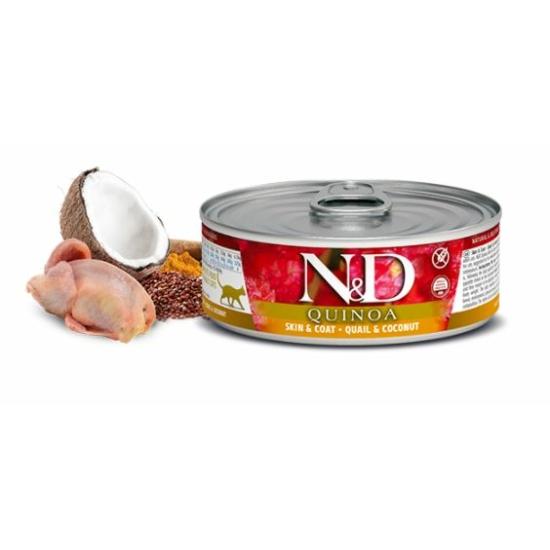 N&D Cat Quinoa - Fürj-Kókusz konzerv a Bőrért és Szőrzetért 80 g