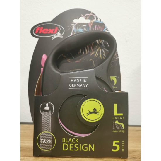 Flexi Black Design L Szalag 5m 50 kg-ig