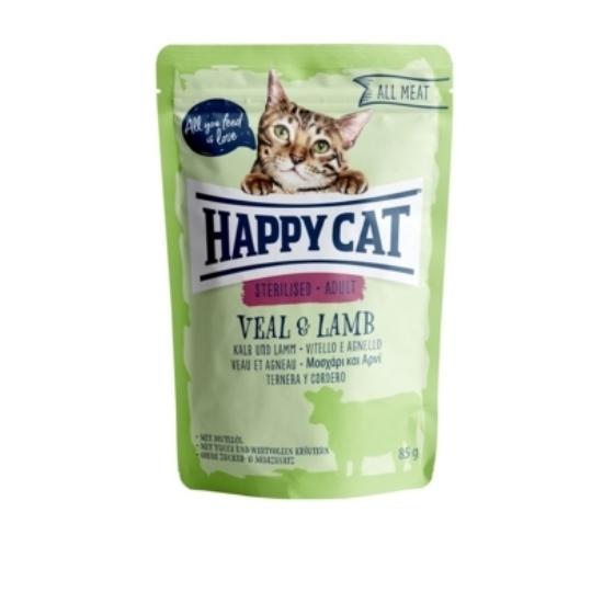 Happy Cat - Pouch Hús Steril Adult Borjú-Bárány macskáknak