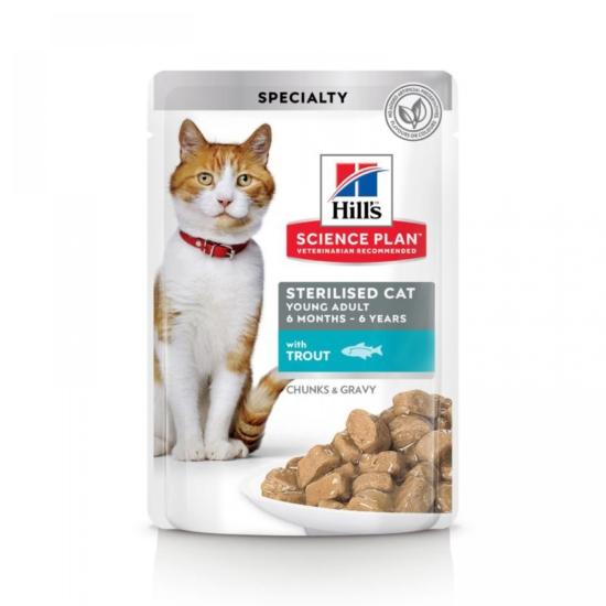 Hill's Science Plan - Pisztrángos alutasak Steril Fiatal Felnőtt macskának 12x85 g