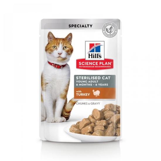 Hill's Science Plan - Pulykás alutasak Steril Fiatal Felnőtt macskának 12x85 g