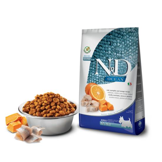 N&D Dog Ocean - Tőkehal-Sütőtök-Narancs száraztáp Kistestű Kutyáknak