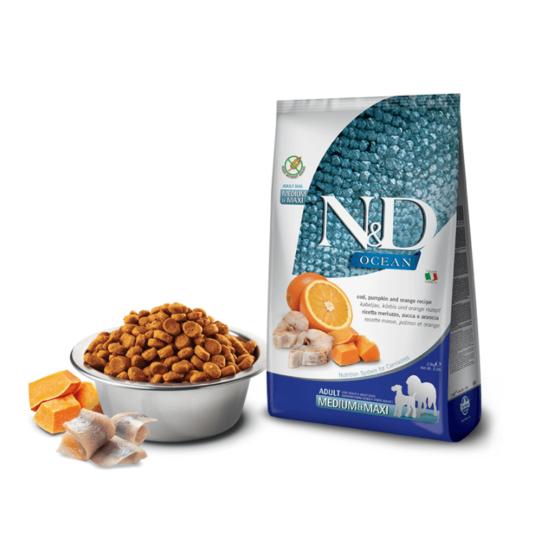 N&D Dog Ocean - Tőkehal-Sütőtök-Narancs száraztáp Kutyáknak