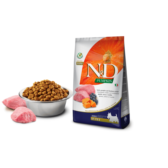 N&D Dog Pumpkin- Bárány-Sütőtök-Áfonya száraztáp Kistestű Felnőtt Kutyáknak