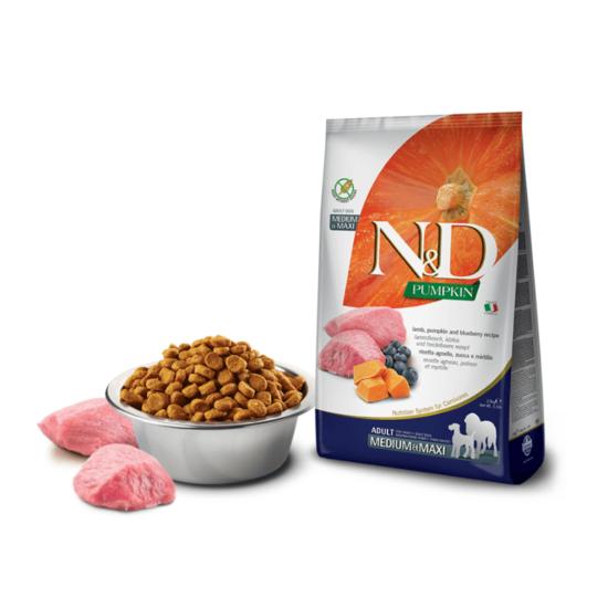 N&D Dog Pumpkin- Bárány-Sütőtök-Áfonya száraztáp Felnőtt Kutyáknak