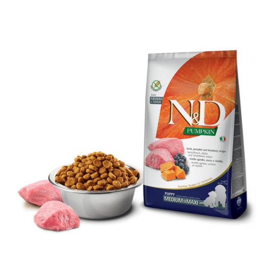N&D Dog Pumpkin- Bárány-Sütőtök-Áfonya száraztáp Kölyök Kutyáknak