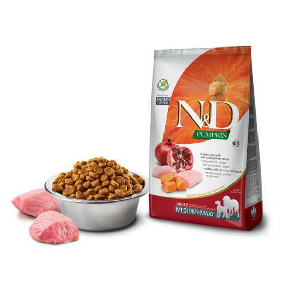 N&D Dog Pumpkin - Csirke-Sütőtök-Gránátalma száraztáp Felnőtt Kutyáknak