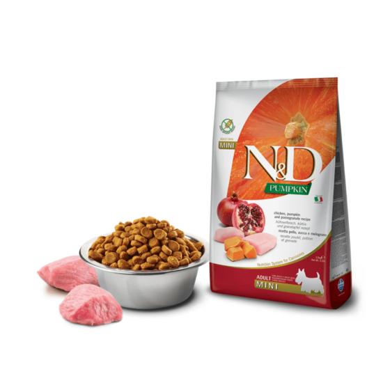 N&D Dog Pumpkin - Csirke-Sütőtök-Gránátalma száraztáp Kistestű Felnőtt Kutyáknak