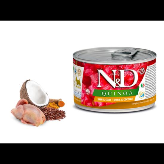 N&D Dog Quinoa - Fürj-Kókusz konzerv a Bőrért és Szőrzetért Kistestű Kutyának 140 g