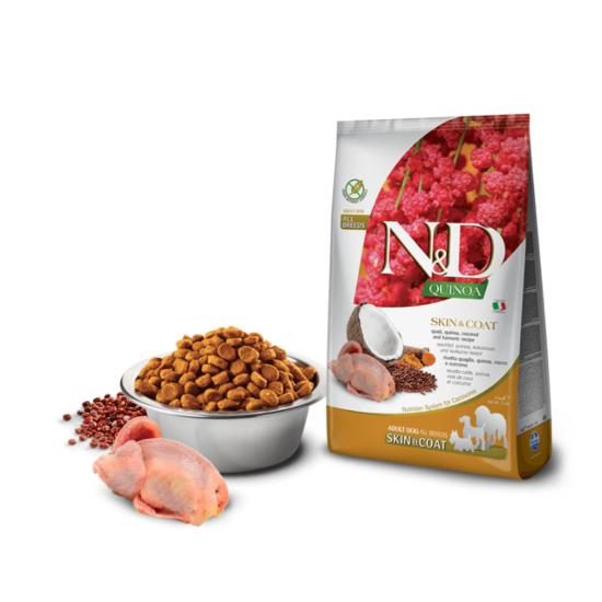 N&D Dog Quinoa - Fürj Száraztáp a Bőrért és Szőrzetért kutyáknak