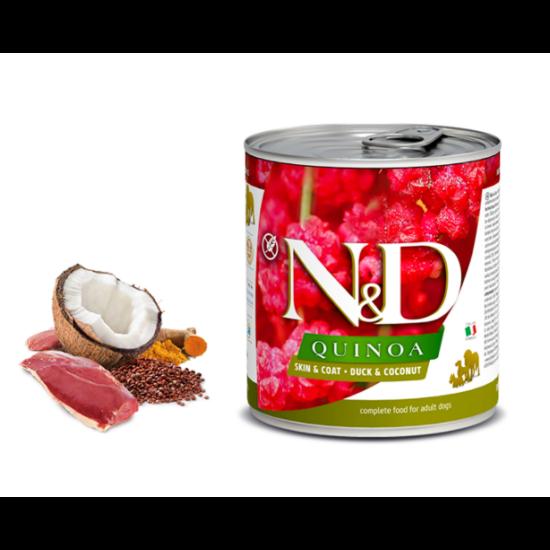 N&D Dog Quinoa - Kacsa-Kókusz konzerv a Bőrért és Szőrzetért 285 g