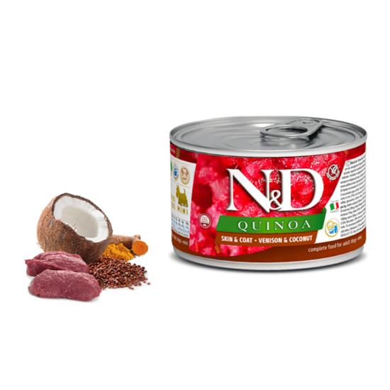 N&D Dog Quinoa - Szarvas-Kókusz konzerv a Bőrért és Szőrzetért Kistestű Kutyának 140 g