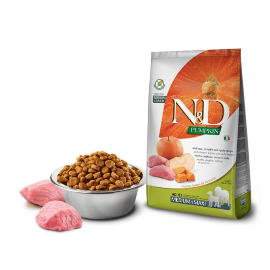 N&D Dog Pumpkin- Vaddisznó-Sütőtök-Alma száraztáp Felnőtt Kutyáknak