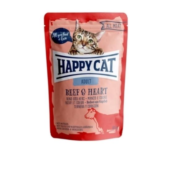 Happy Cat - Pouch Hús Adult Marha-Szív 85 gr