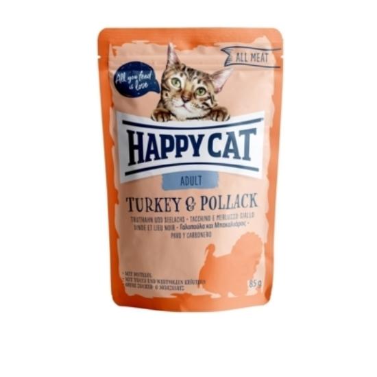 Happy Cat - Pouch Hús Adult Pulyka-Tőkehal macskáknak