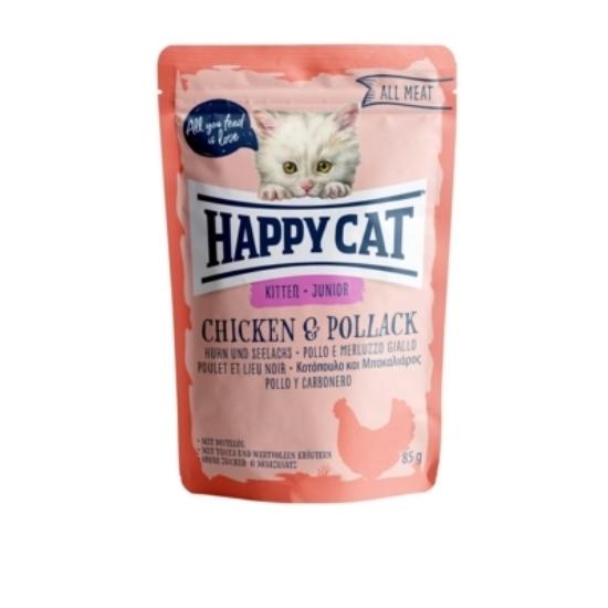 Happy Cat - Pouch Hús Junior Csirke-Tőkehal