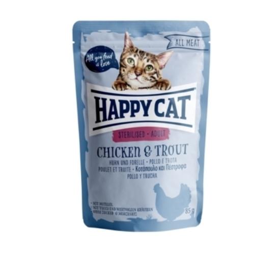 Happy Cat - Pouch Hús Steril Adult Csirke-Pisztráng