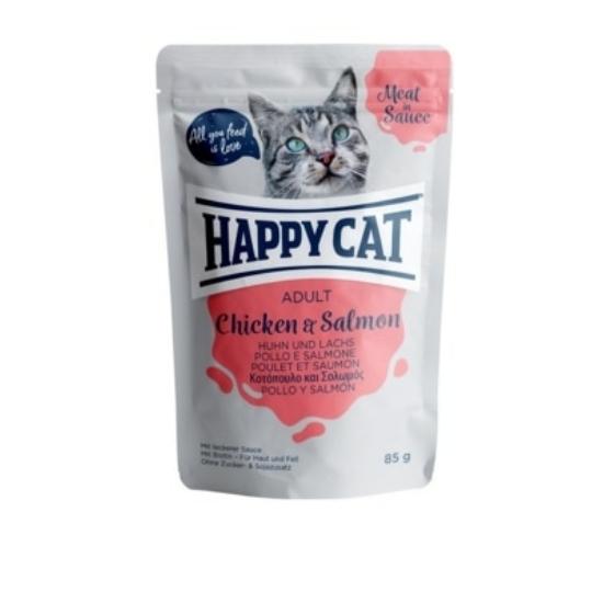 Happy Cat - Pouch Szósz Csirke-Lazac macskáknak