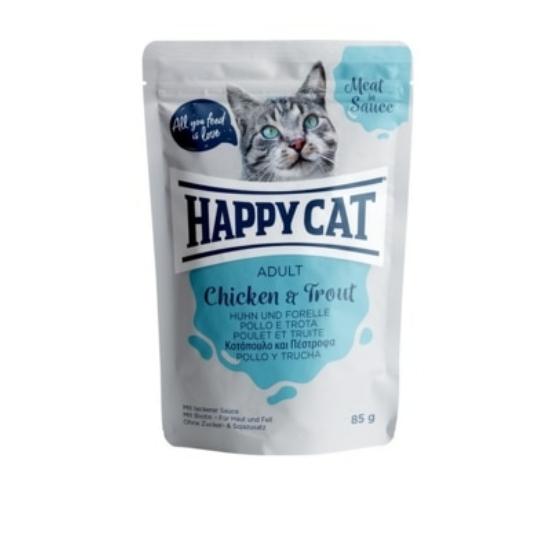 Happy Cat - Pouch Szósz Csirke-Pisztráng macskáknak
