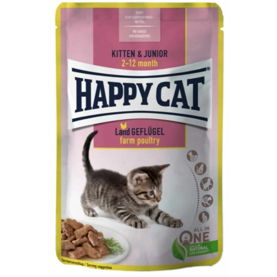 Happy Cat - Pouch Szósz Kitten-Junior Baromfi alutasak cica