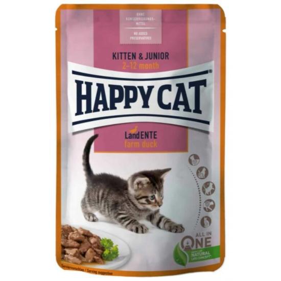 Happy Cat - Pouch Szósz Kitten-Junior Kacsa alutasak cicáknak